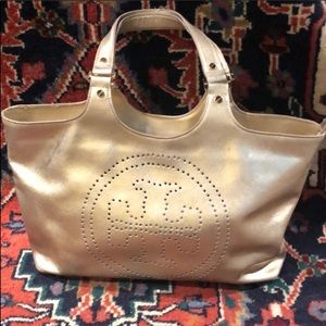 Tory Burch Gold Leather Tote Bag/Purse